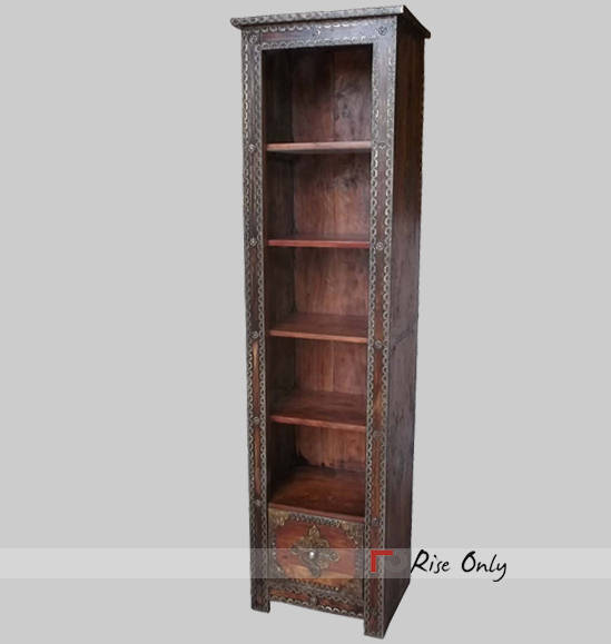 Acacia Wood Brass Fitted Bookcase Bookrack