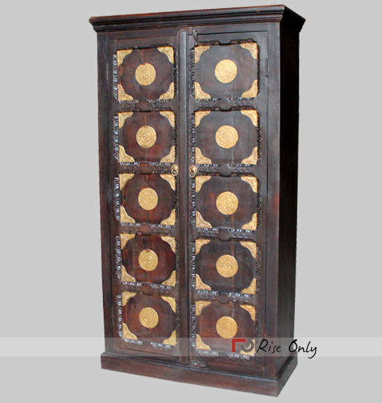 Acacia Wood Designer Brass Fitted Almirah Online
