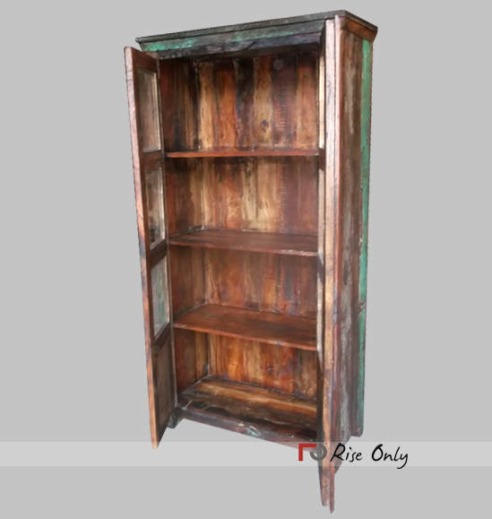 Recycle Almirah Of With Glass Door Antique Reclaimed Wood
