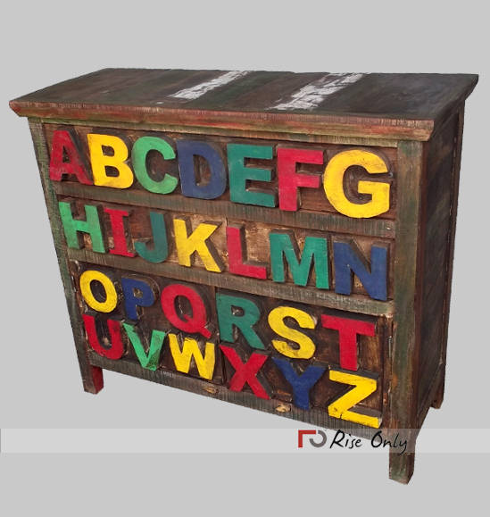 Antique Recycled Wooden Kids Sideboard