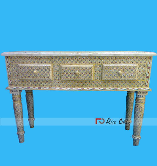 Bone Inlay Carved Console Table for Sale