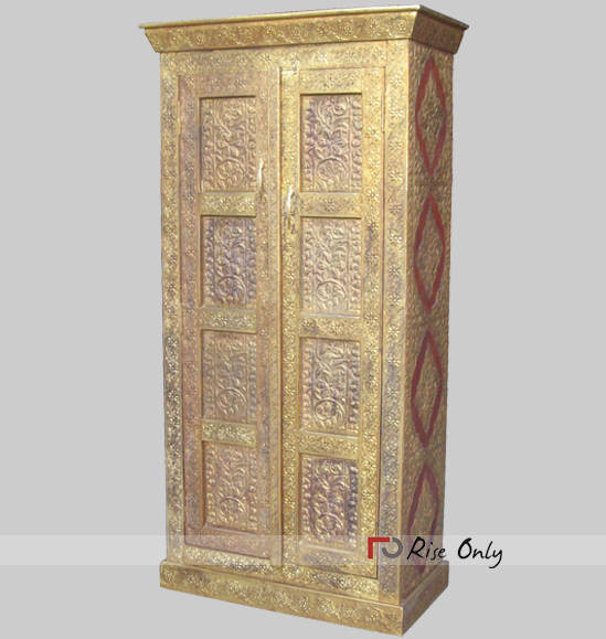 Brass Fitted Decorated Wooden Acacia Wood Almirah
