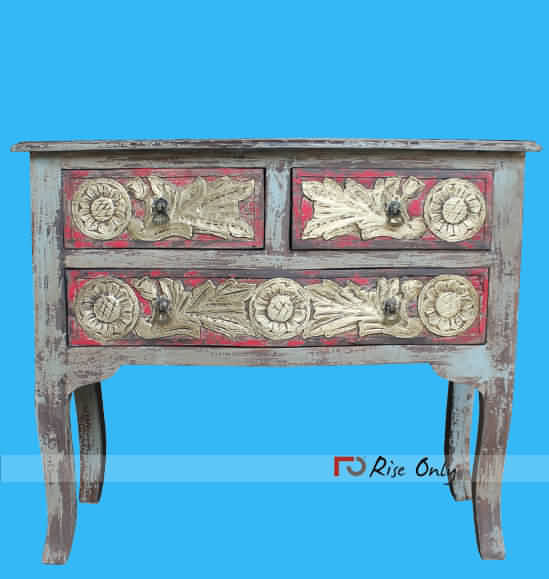Brass Fitted Distressed Finish Console Table