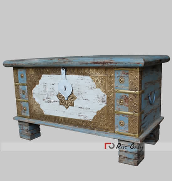 Brass Fitted Distressed Finish Wooden Trunk Chest