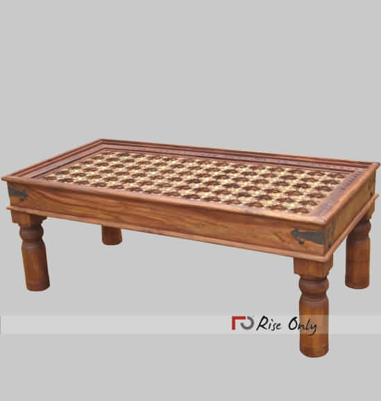 Brass Fitted Large Center Table In Sheesham Wood Square