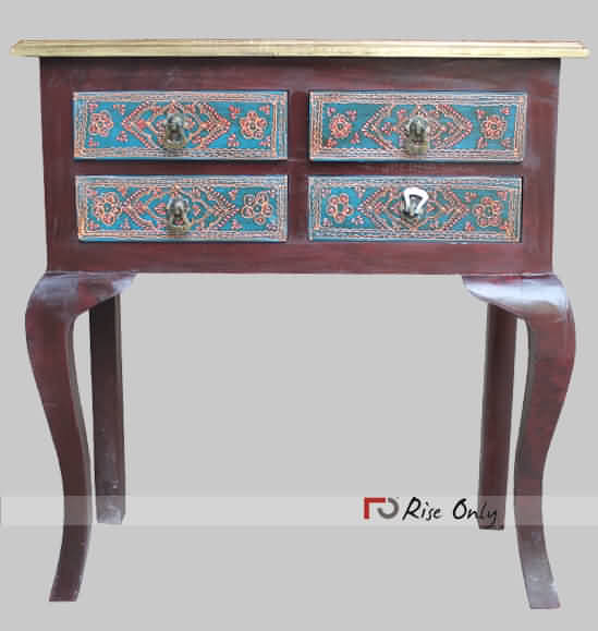 Brass Fitted Painted Console Table with Drawers