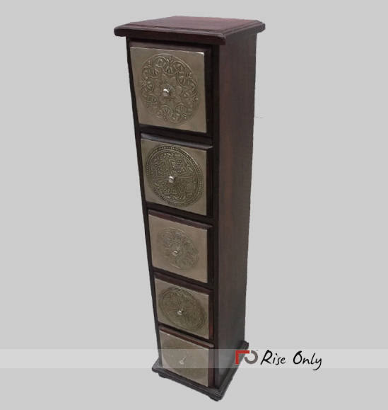 Brass Fitted Tall Chest of Drawers for Sale