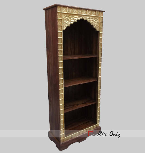 Rise Only Brass Fitted Mango Wooden Bookcase