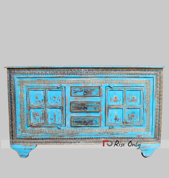 Brass Fitted Wooden Multicolor Sideboard