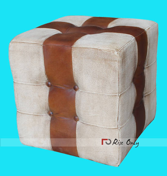 Canvas And Leather Pouf Upholstered Furniture