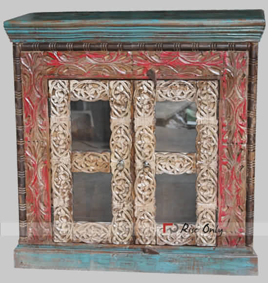 Carved Wooden Distressed Glass Cabinet