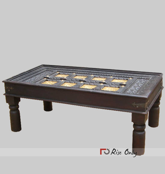Cheap Wooden Coffee Tea Table of Brass Fitting