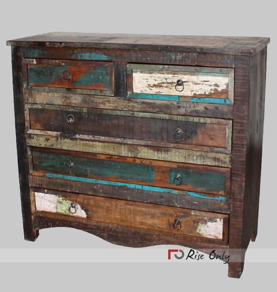 Mogulinterior Antique India Sideboards Buffet Distressed Green Drawer Chest Dresser Storage