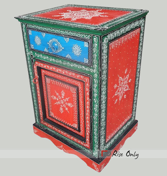 Color Embossed Painted Wooden Bedside Cabinet
