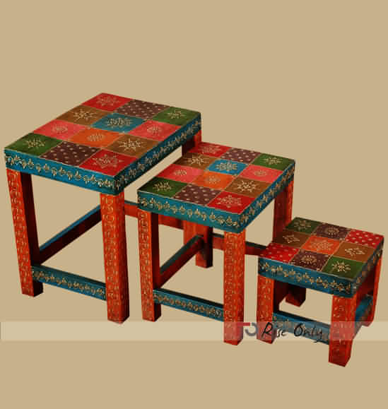 Designer Multicolor Emboss Painted Wooden Stool