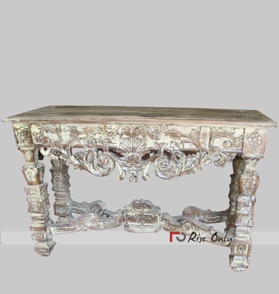 Distressed and Painted Wooden Console Table Cabinets