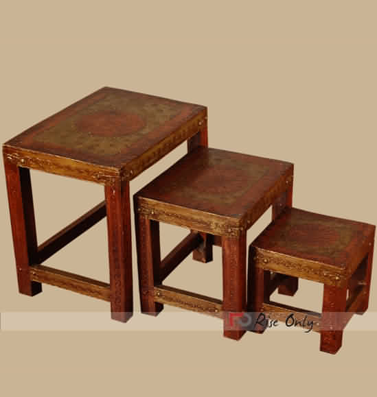 Embossed Painting Wooden Stool Set of 3
