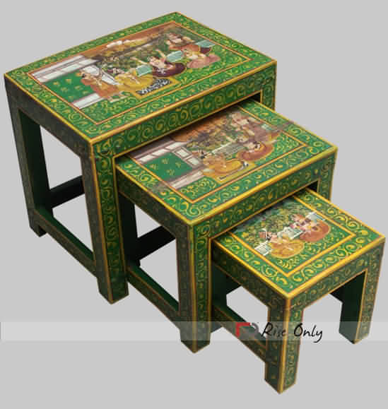 Green Painted Wooden Stools Online