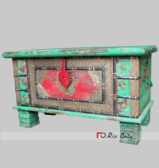Green Red Distressed Multicolor Wooden Box