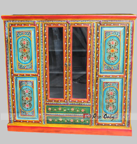 Hand Painted Wooden Filling Cabinet