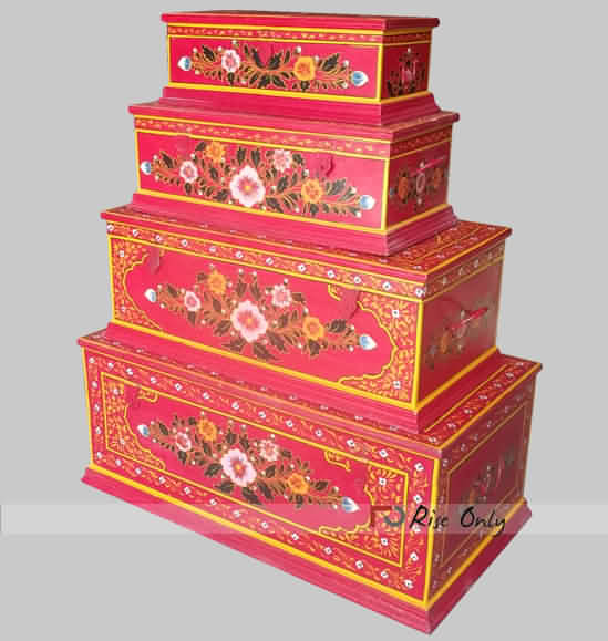 Hand Painted Wooden Trunk Boxes