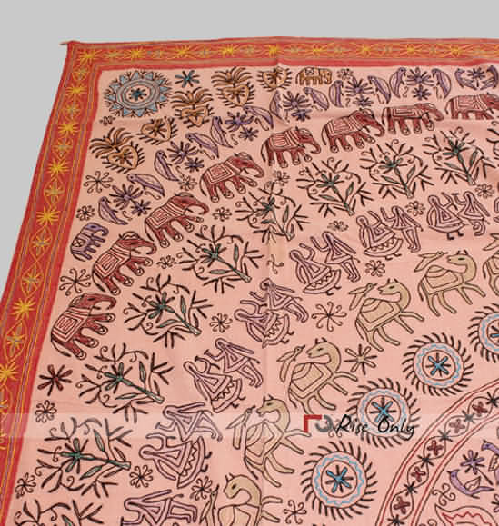 Indian Aari Work Camel Printed Bed Covers Online