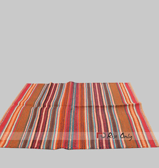 Indian Multicolor Cotton Area Rugs Mat With Strips