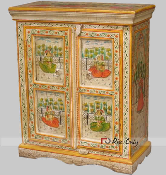 Indian Painted Wooden Sideboard Furniture