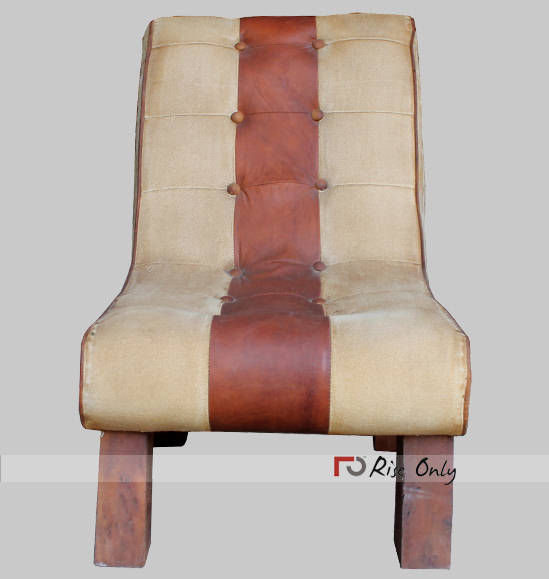 Indian Upholstered Leather and Canvas Chair Jodhpur