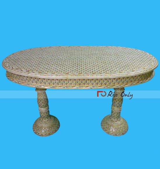 Indian Wooden Bone Inlay Oval Shaped Dining Table