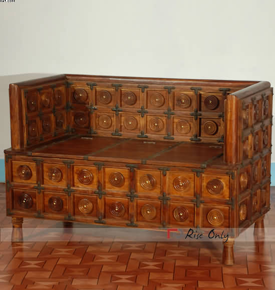 Indian Wooden Sofa With Storage Box