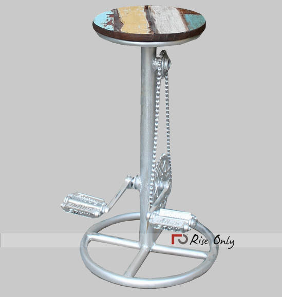 Industrial Iron Bar Stool from Bicycle Parts