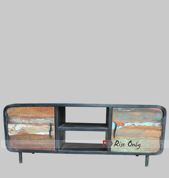 Wrought Iron Tv Cabinet Industrial Reclaimed Wood And