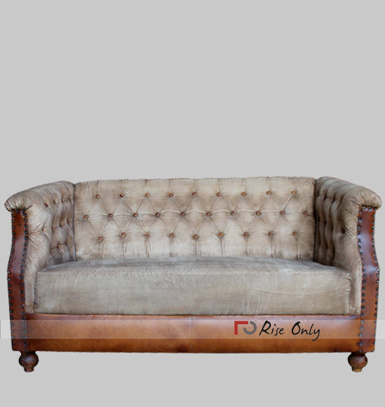 Industrial Upholstered Leather Canvas Sofa