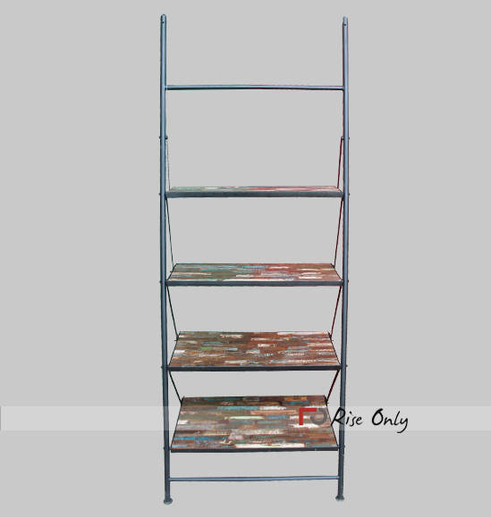 Iron shelves Folding Recycled Wood Bookcase Online
