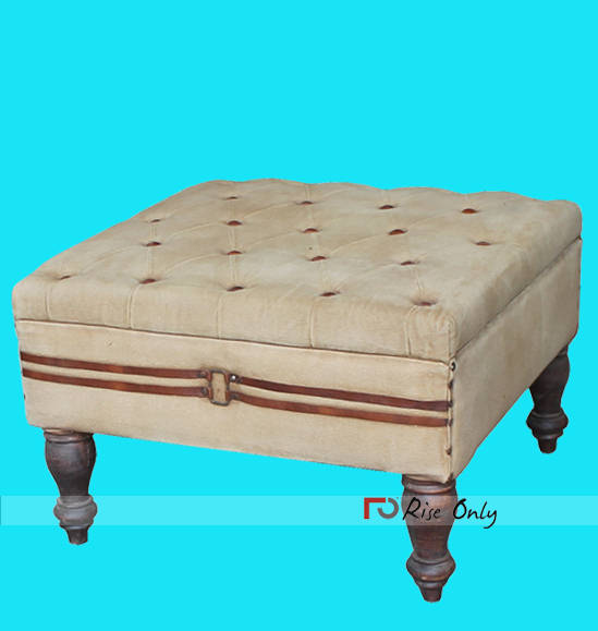 Leather and Canvas Industrial Upholstered Ottoman