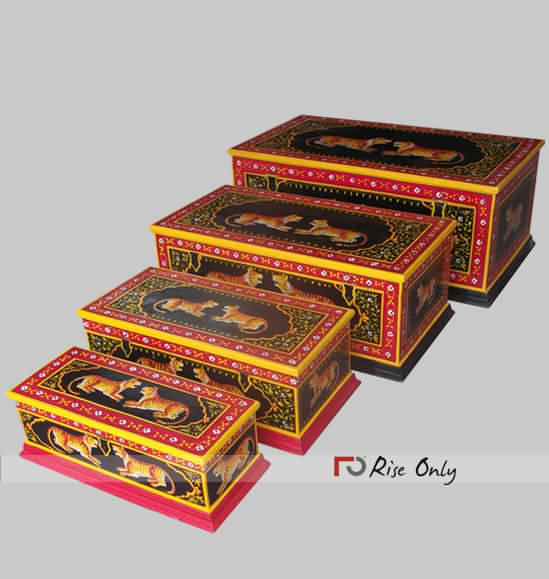 Lion Printed Wooden Painted Box Set of 3