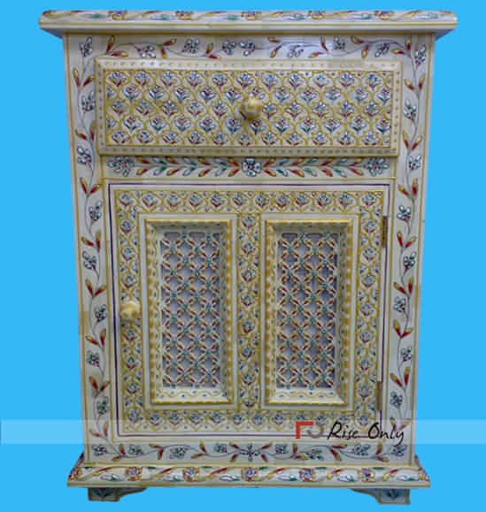 Rise Only Moroccan Bone Inlay Bedsides