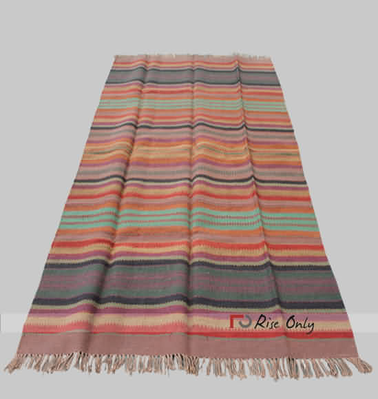 fead95409 Multicolor Cotton Striped Chindi Floor Rug India
