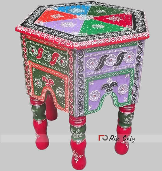 Multicolor Embossed Painted Wooden Stools