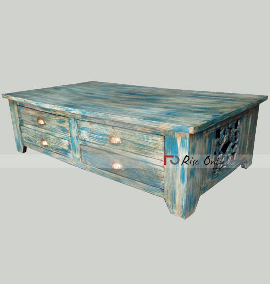 Multicolor Painted Centre Coffee Table With Drawer
