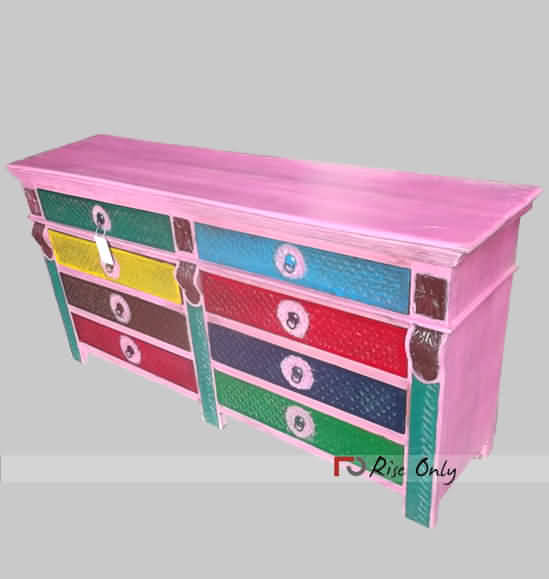 Multicolor Wooden Painted Sideboard Cabinet