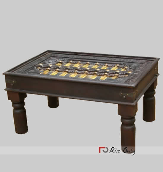 Online Antique Coffee Table with Brass Fitted