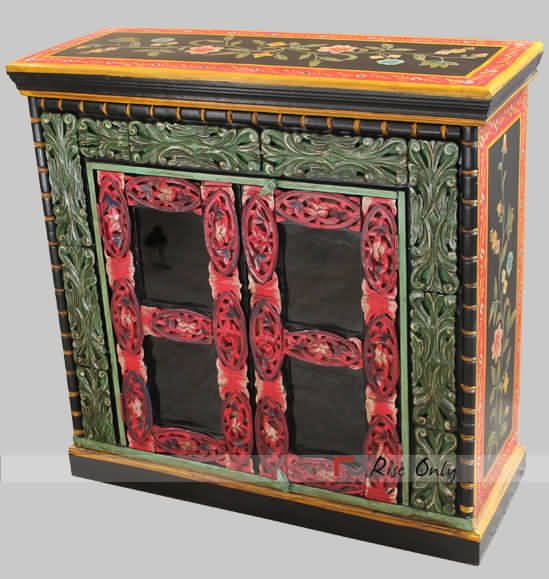 Painted Carved Wooden Glass Cabinet