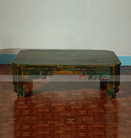 Painted Centre Table for Coffee with Acacia Wood