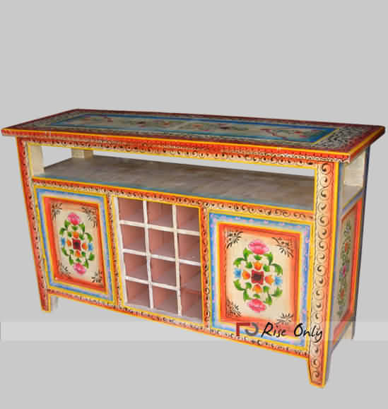 Painted Cheap Bedside Tables, Cheap Bedside Cabinets India, Online Indian Wooden Bedside