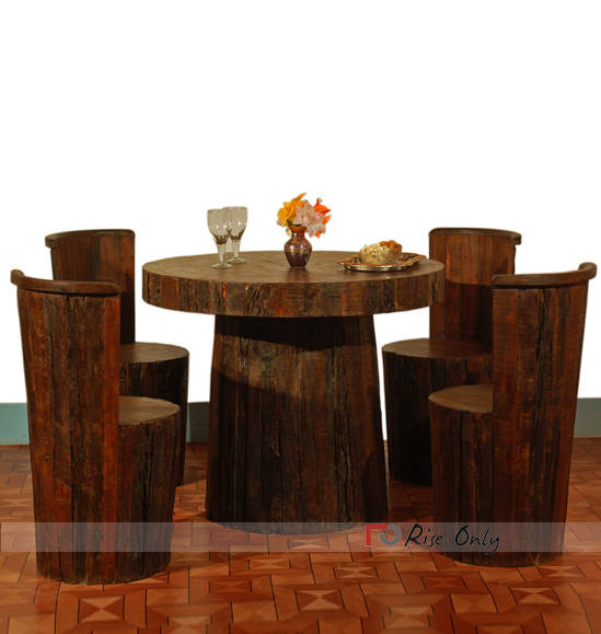 Rise Only Railway Sleeper Wooden Dining Set