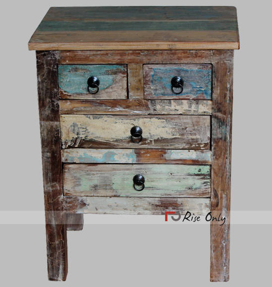 Reclaimed Recycling Old Wood Bedside Furniture