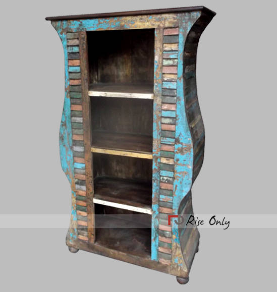 Reclaimed Teak Wood Bookcase Scotland - Bookcase From Recycled Material, Reclaimed Bookcases Of Timber