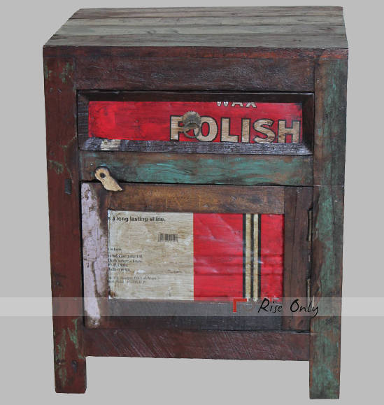Recycled Wood Old Iron Sheet Fitted Bedside Table